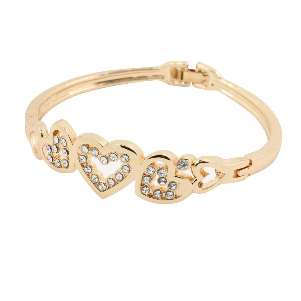 Love Heart Crystal Rhinestone Cuff Bangle Bracelets Hollow Out Rose Gold Plated Guardian of Love Romantic Gift for Her Women Girl Anniversary Brithday Valentine's Day Women's Day (Rose Gold)