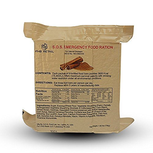 3600 Emergency Food (SOS Food Labs SOScin1pk S.O.S. Rations Emergency 3600 Calorie Cinnamon Flavor Food Bar - 3 Day/72 Hour Package with 5 Year Shelf Life- 1 Pack)