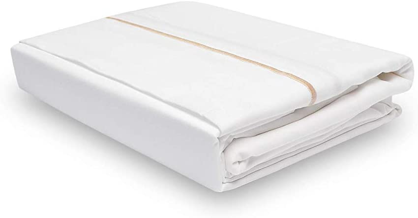 Calico Homes 1000 Thread Count 100% Egyptian Cotton Ultra Soft 1 Piece Flat Sheet (Top Sheet) Twin XL Size White Color with Taupe Embroidery Stitch (Taupe Border)