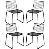 COSTWAY Dining Chair Stackable Chair with Slat Seat Modern Metal Chair Outdoor Patio Chair Garden Chair with Sturdy Metal Frame Cafe Chair for Indoor/Outdoor Stackable Chair Set of 4 (Black)