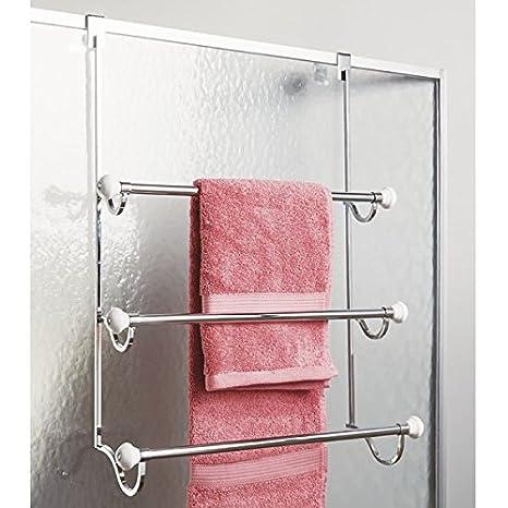 mDesign Handtuchhalter ohne Bohren montierbar Handtuchhalter T/ür-Befestigung einfach einzuh/ängen Badetuchhalter /& f/ür Kleidung als Duschhandtuchhalter verchromt