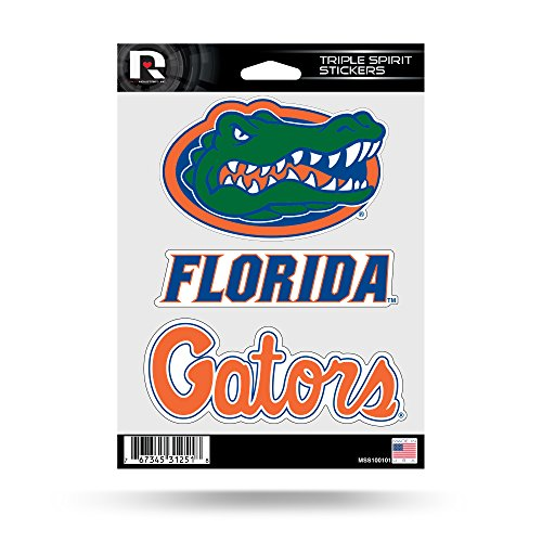 NCAA Florida Gators  Triple Spirit Stickers, Orange, Blue, Green, 3 Team Stickers