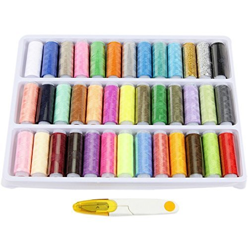 Wisehands 39 Spools Rainbow Polyester Sewing Thread Box Kit Set for Quilting Stitching and Hand Sewing Multicolor
