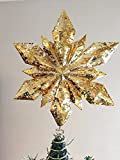 Dazzling Mercury Gold Snowflake Christmas Tree Topper Holiday Decor 12.25 Inch Tall