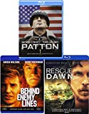 Explosive Triple War Movie Collection + Rescue Dawn Blu Ray / Patton / Behind Enemy Lines Pack Military Movie Action Set 3 Film Favorites Bundle