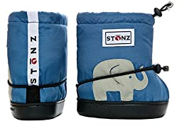 Stonz Three Season STAY-On Baby Booties, For Bare Feet or Shoes, For Mild or Cold Snow Weather, Elephant - Slate Blue PLUSfoam Medium