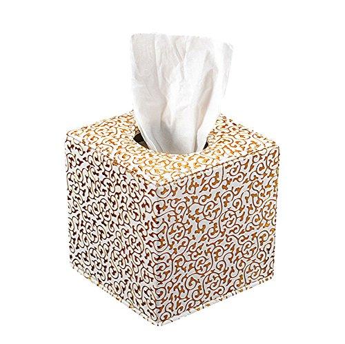 aikesi caja de panuelos Simple cuadrado plata tallada flores cuero caja de papel hogar mesa mesa de cafe 1pcs, dorado, 14*13.5*13.5cm