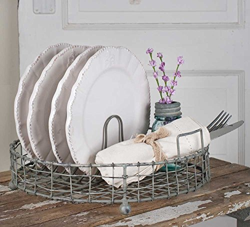 Colonial Tin Works Galvanized Metal Vintage Dish Rack with Utensil Holder,Gray,1 Bottle