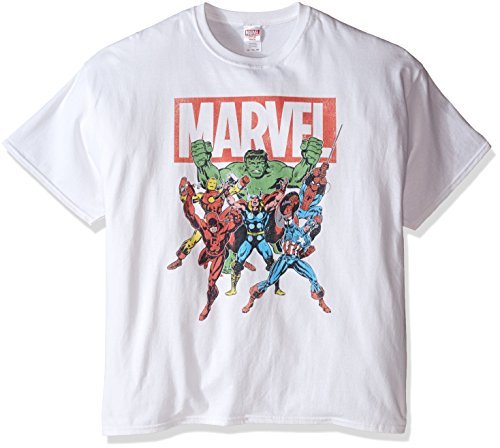 Marvel Men's Big-Tall Character Group T-Shirt, White, 5X-Large