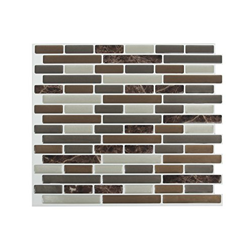 Peel and Impress - Easy DIY Peel and Stick Adhesive Backsplash Tiles,  24088 Mixed Brown Marble, Oblong, 11