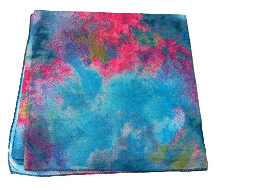 Womens Tie Dye Soft Square Cotton Hair scarf, Tichel, Bandana, Haircovering , 36inx36in (Turquoise/Pink/Green)
