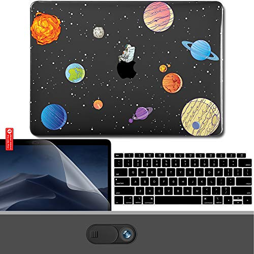 GMYLE MacBook Air 13 Inch Case 2018 Release A1932 with Touch ID Retina Display, Pattern Plastic Hard Shell, Webcam Cover Slide, Keyboard Cover and Screen Protector Set - Talking to The Stars