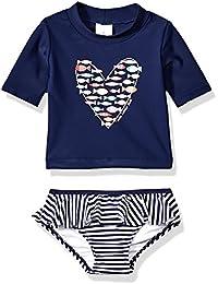 Kiko & Max Little Girls Suit Set with Long Sleeve Rashguard Swim Shirt, Navy Fish Heart, 2T