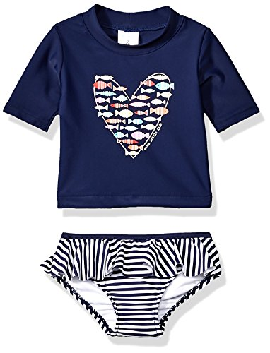 Price comparison product image Kiko & Max Little Girls' Suit Set With Long Sleeve Rashguard Swim Shirt, Navy Fish Heart, 2T