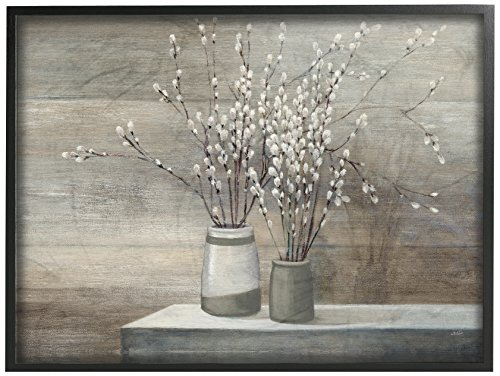 Stupell Industries Pussy Willow Still Life Oversized Framed Giclee Texturized Art, Proudly Made in USA ()