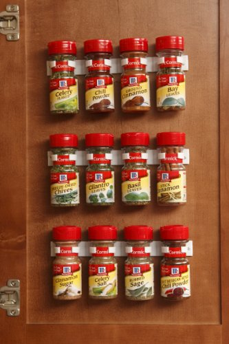 bellemain spice gripper clip strips for plastic jars - set of 3, holds 12 jars