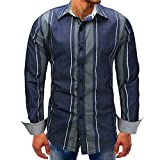 Mose Blue Striped Shirt for Men Fashion Men Striped Long-Sleeve Beefy Button Basic Solid Blouse Tee Shirt Top (Blue, 3XL)
