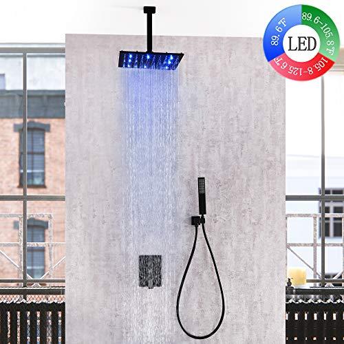 (Dr Faucet Ceiling Mount LED Faucet Shower Systems, Luxuries Bathtub 12 Inch LED Rainfall Shower Tap Mixer, Matte Black Dr-7412C)