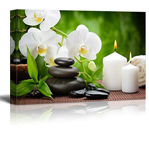 Zen Basalt Stones and Orchid on The Wood Wall Decor