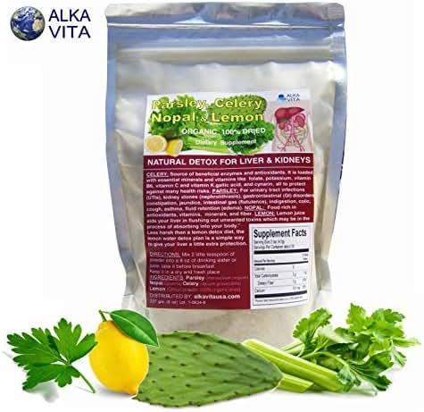 Parsley, Celery, Lemon & Nopal Cactus Kidney Cleanse & Liver Support Supplement Dried Organic Fiber Bag 1/2 LB.