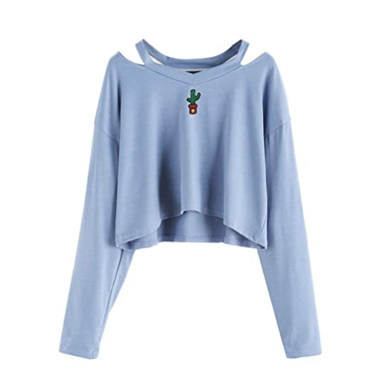 55776939888 Amazon.com  Auwer Fashion Women Long Sleeve Off-Shoulder Cactus Embroidery  Sweatshirt Casual Tops Blouse  Clothing