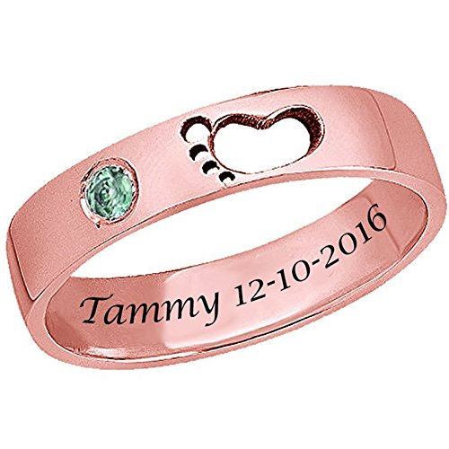 Ouslier 925 Sterling Silver Personalized Birthstone Baby Footprint Name Ring Custom Made with Name and Date (Rose Gold)