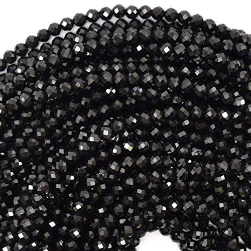 Bead Jewelry Making Faceted Black Spinel Round Beads Gemstone 15.5