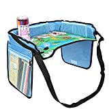 KIPTOP Childrens Travel Tray,Kids Play Tray for Snacks Drawing Baby Carriage Car Bus Train and Plane Journeys,Large,Comfortable, Strong Base,Works on Buggy and Pushchair (Blue)