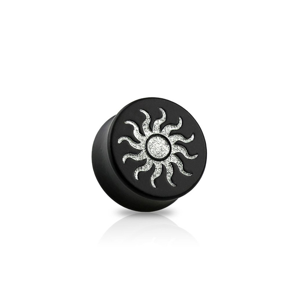Dynamique Pair Of Double Flared Black Ebony Wood Saddle Plugs With Silver Tribal Sun Front