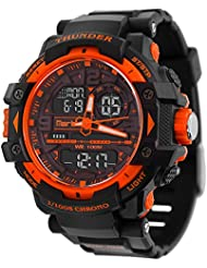 Mens Outdoor Sports Waterproof Digital Analog Double Time Zone LED Backlight Stopwatch Fashion Trend Military...