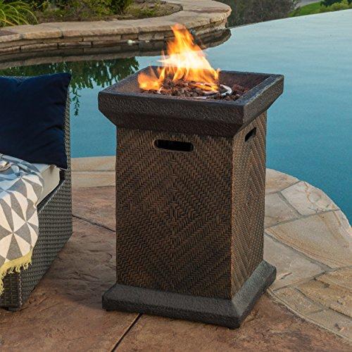 "Great Deal Furniture Centinela Outdoor 19"" Liquid Propane Fire Pit Column"