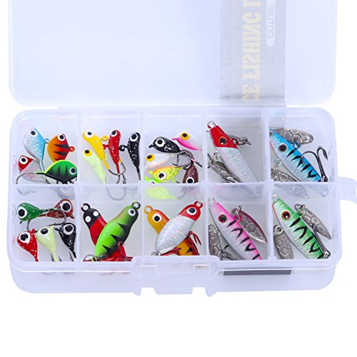 Goture Lead Ice fishing jigs in a small plastic tackle box