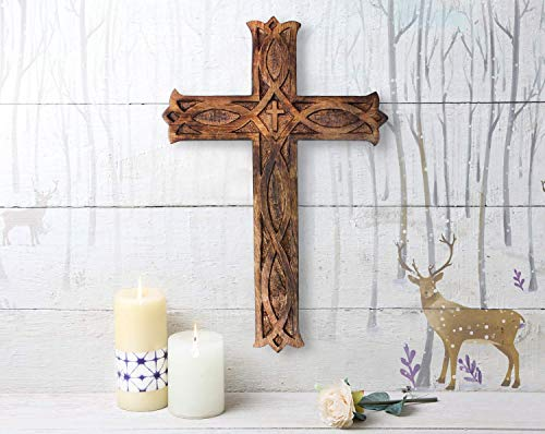 storeindya, Decorations Wooden Celtic Cross Long Wall Hanging French Cross Hand Carved Antique Design Religious Altar Home Living Room Decor Accessory (Brown)