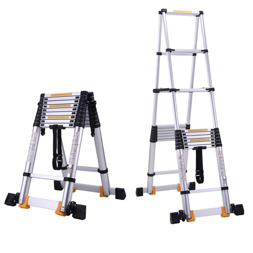 ZR 折り畳み梯子, ヘリングボーンラダー4.5 + 4.5M、アルミニウム伸縮ラダー、ホームロフト屋外EN131認定/ 150kg耐荷重/ 15ステップ用フレームラダー アウトドア伸縮はしご B07L47S5JZ