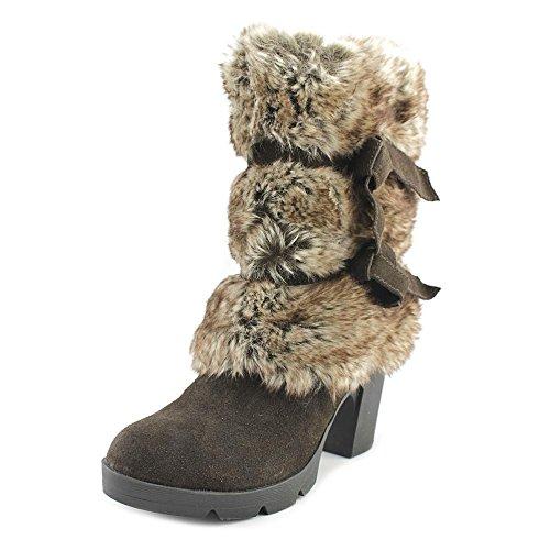 BEARPAW Women's Bridget Snow Boots, Brown Suede, Faux Rabbit Fur, Sheepskin Fur, Rubber, 9 M (Sheepskin Suede Wedge Womens)