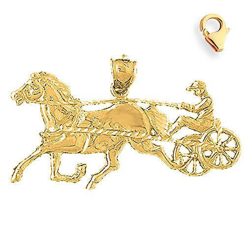 Jewels Obsession Horse & Carriage Charm | 14K Yellow Gold Horse & Carriage Charm Pendant - 25mm
