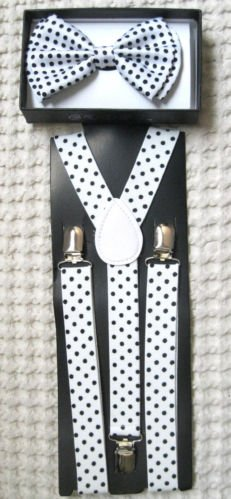(Unisex Fashion Adults Teens Teenagers White with Black Polka Dot Adjustable All Polyester Silk Bow Tie and Matching Adult Teens Teenagers White with Black Polka Dot Adjustable Suspenders Combo-new in Factory Pkg!)