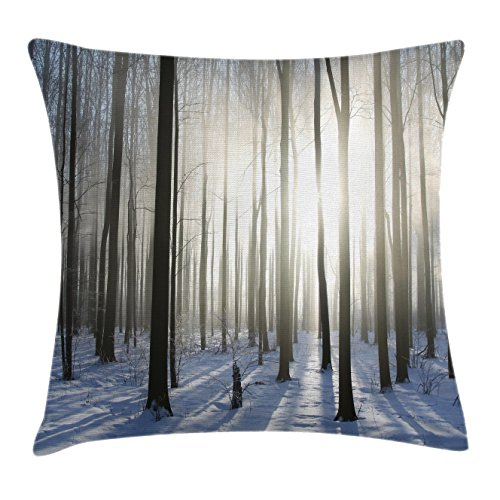 Woodland Throw Pillow Cushion Cover by Ambesonne, Wintertime Forest on a December Morning Snowy Sunshine Shadows Trunk, Decorative Square Accent Pillow Case, 18 X18 Inches, White and Dark Brown