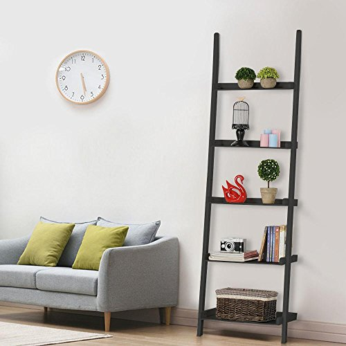 Topeakmart Living Room Black Wooden 70 Inch 5 Tier Leaning Ladder Shelf Bookcase Bookshelf Stylish Display Storage Shelves Unit by Topeakmart