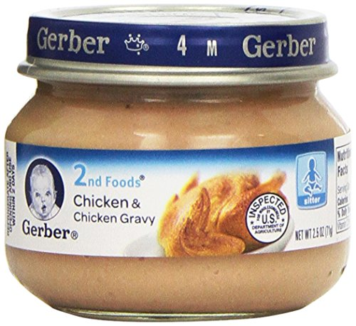 - Gerber 2nd Foods Meats, Chicken & Chicken Gravy, 2.5-Ounce (Pack of 12)