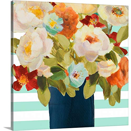 GREATBIGCANVAS Gallery-Wrapped Canvas Entitled Flowers on Stripes II by Lanie Loreth 35