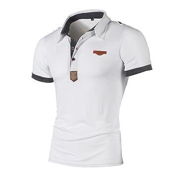 Camisas de Hombre ❤ Amlaiworld Camisetas Hombre Originales Verano Casual de Manga  Corta Letra Polo b7626884244dd