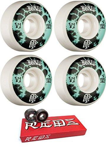 クラシカルうめき声拾うBones Wheels 53 mm STF Deep Dye v1スケートボードWheels with Bones Bearings – 8 mmスケートボードベアリングBones Super Redsスケート定格 – 2アイテムのバンドル