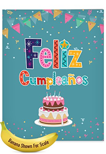 - Jumbo Funny Birthday Greeting Card: Feliz Cumpleaños With Sparkling Confetti and Shining Words in Spanish, with Envelope (Large Size: 8.5