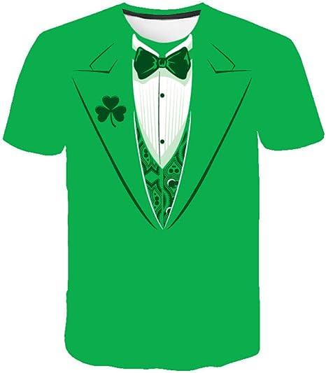 Camisetas Hombre Traje Verde con Estampado 3D para Hombres Cuello Redondo Camisa Casual De Manga Corta Top Blusa Camisetas De Playa De Deporte De Verano Unisex: Amazon.es: Deportes y aire libre