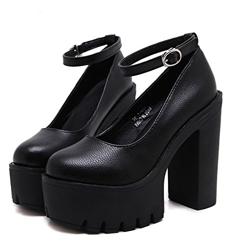 Minetom Damen Elegant Rund Zehe Hoher Absatz Schuhe mit Hohen Absätzen Schlüpfen Plateauschuhe Keilabsatz Schnalle Pumps Schwarz