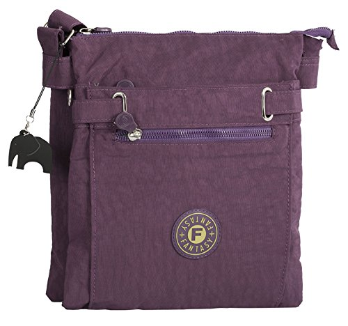 Fabric Cross Compartment Messenger Multi Body Shop Big Bag Purple Zip Handbag g6WqEgPT