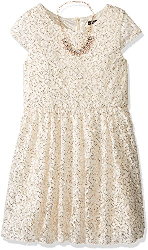 My Michelle Big Girls' Cap Sleeve Lace Dress - White And Gold Dress Kids