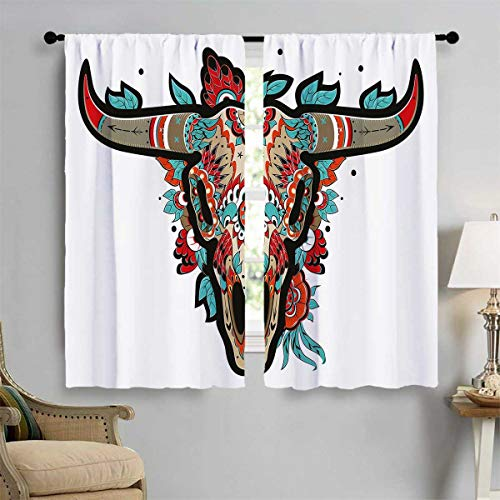 PriceTextile Western Decorative Curtains for Living Room Buffalo Sugar Mexican Skull Colorful Ornate Design Horned Animal Trophy Window Curtain Drape 55'' W x 63'' L Turquoise Red Taupe by PriceTextile