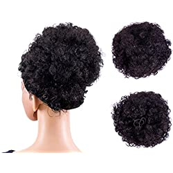 SWACC Afro Puff Drawstring Ponytail Kinky Curly Afro Clip on Updo Chignon Bun Hair Piece Extensions for African American Women Medium Size (Natural Black Brown-2#)